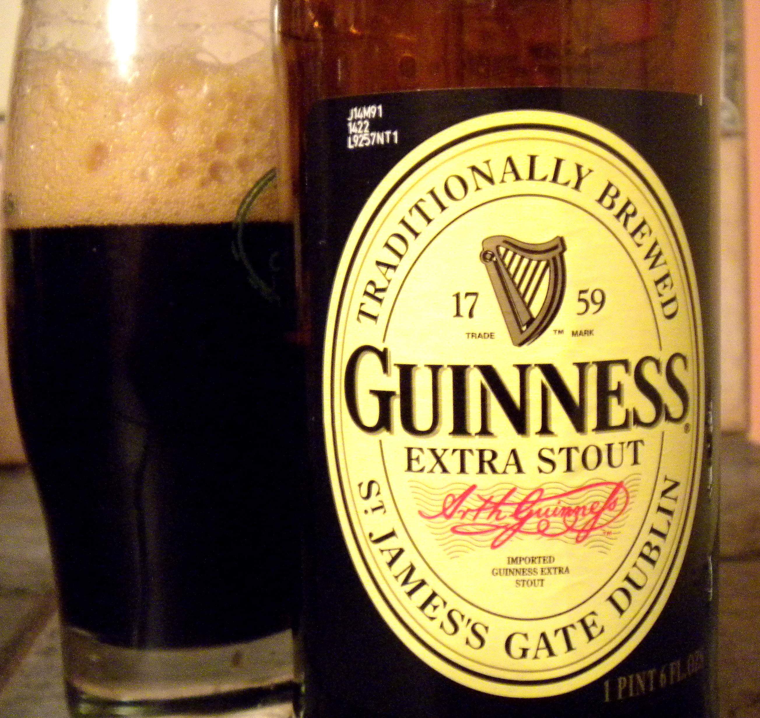 Bass ale and guinness stout tilting suds for Guinness beer in ireland