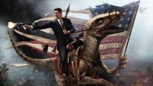 Reagan riding a Velociraptor while firing a Machine Gun. If you don't love this, go swim to Cuba!